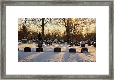 Framed Print featuring the photograph Winter Cemetery  by Kirkodd Photography Of New England