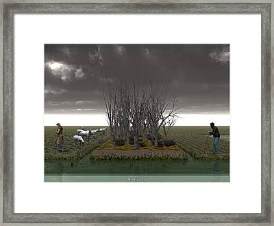 Winter Chill - Inspired By Van Gough Pollard Birches Framed Print by Jim Coe