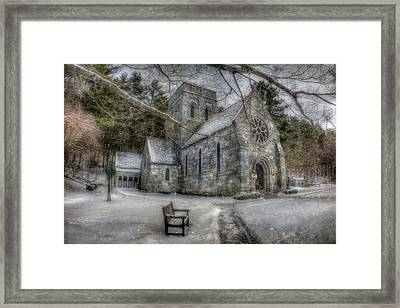 Winter Church In New England Framed Print by Joann Vitali