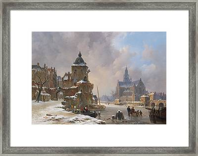 Winter Cityscape With Frozen River Framed Print