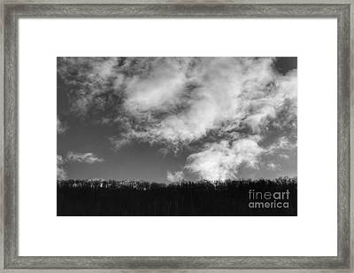 Winter Clouds Over The Delaware River Framed Print