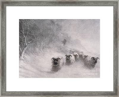 Winter Comes With A Stormy Blast Framed Print by Joseph Farquharson
