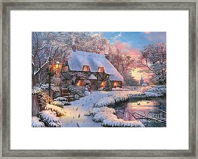 Winter Cottage Framed Print by 2015, Dominic Davison, Licensed by MGL, www.mgllicensing.com.