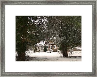Winter Cottage Framed Print by Gordon Beck