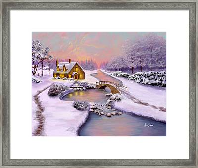 Winter Cottage Framed Print by Sena Wilson