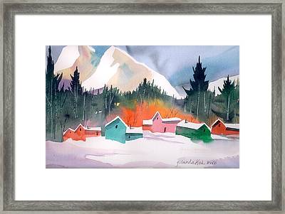 Winter Cottages Framed Print by Yolanda Koh