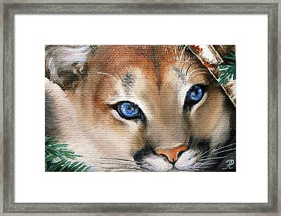 Winter Cougar Framed Print by Larissa Prince