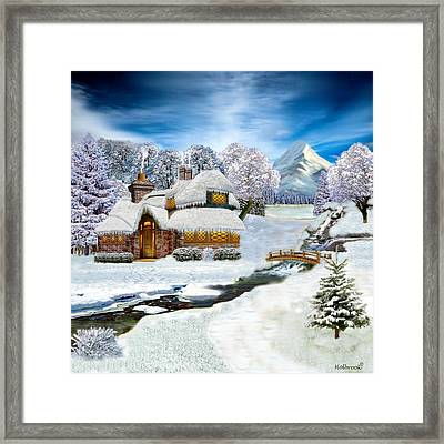 Winter Country Cottage Framed Print