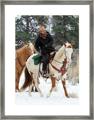 Winter Cowboy Framed Print