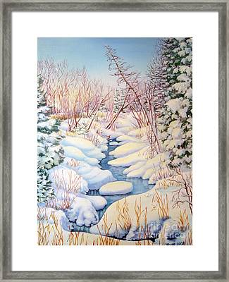 Framed Print featuring the painting Winter Creek 1  by Inese Poga
