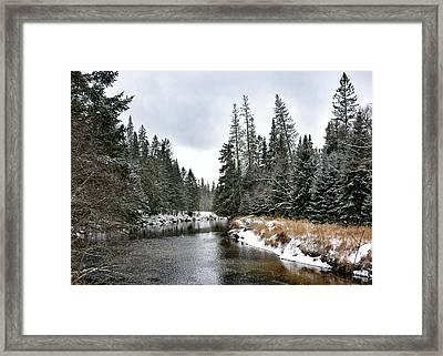 Winter Creek In Adirondack Park - Upstate New York Framed Print by Brendan Reals