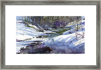 Winter Creekbed Framed Print by Andrew King