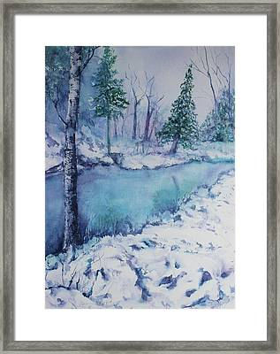 Framed Print featuring the painting Winter Creek's Edge by Kim Fournier