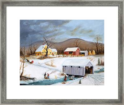 Winter Crossing Framed Print by Joseph Holodook