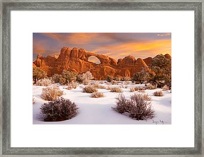 Winter Dawn At Arches National Park Framed Print by Utah Images