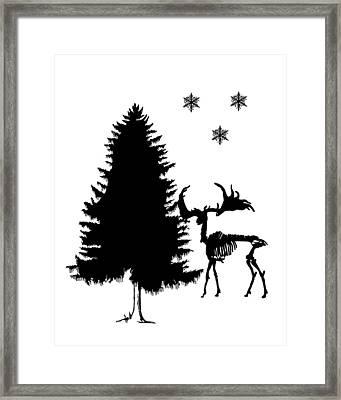 Winter Deer Skeleton Framed Print