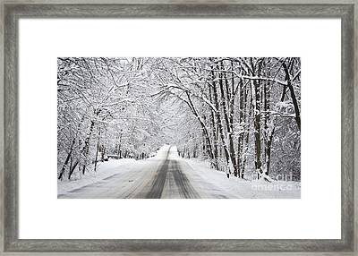 Winter Drive On Highway A Framed Print