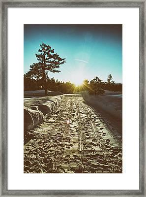 Winter Driveway Sunset Framed Print