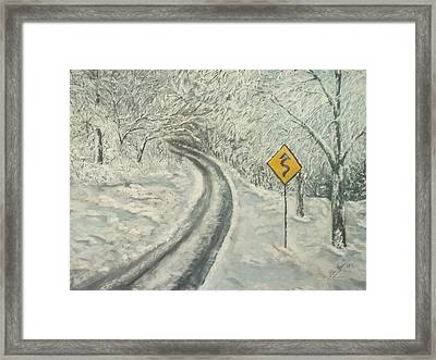 Winter Driving Framed Print by Bev  Neely