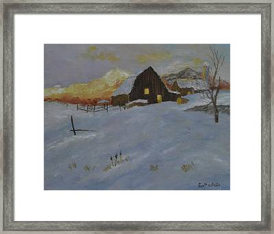 Winter Dusk On The Farm Framed Print