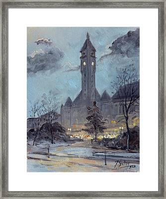 Winter Dusk - Union Station Framed Print