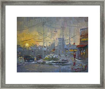 Winter End Of Day Framed Print by Ylli Haruni