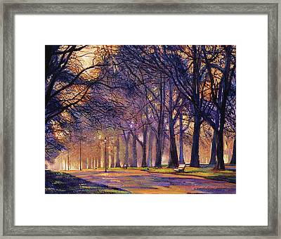 Winter Evening In Central Park Framed Print by David Lloyd Glover