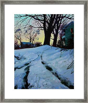 Framed Print featuring the painting Winter Evening Lights by Sergey Zhiboedov