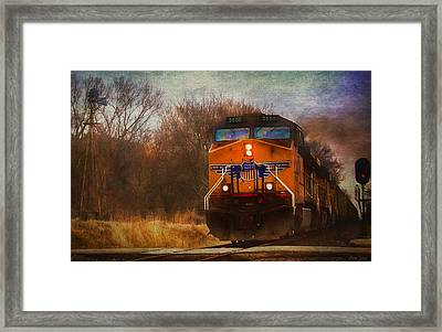 Winter Evening Union Pacific Train Framed Print
