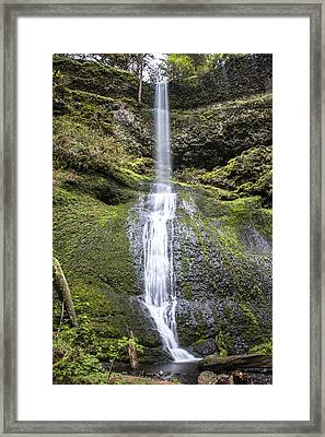 Winter Falls In Silver Falls State Park Framed Print by John McGraw