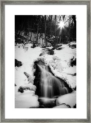 Framed Print featuring the photograph Winter Falls With Sun by Alan Raasch