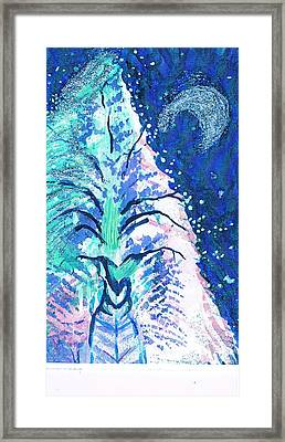 Winter Fantasy Tree With Moon Framed Print by Anne-Elizabeth Whiteway