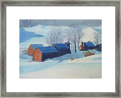 Winter Farm Framed Print by Ally Benbrook