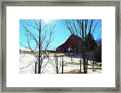 Winter Farm House Framed Print