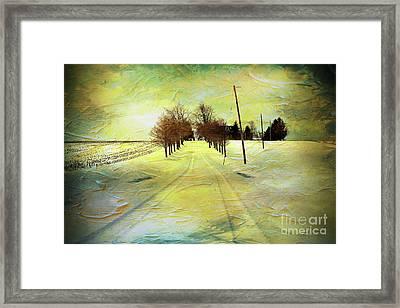 Winter Farm Tracks Framed Print by Anthony Djordjevic