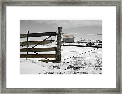 Winter Fence Farm Framed Print
