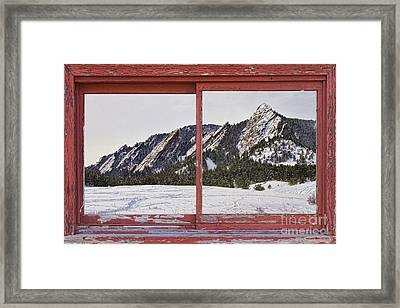 Winter Flatirons Boulder Colorado Red Barn Picture Window Frame  Framed Print by James BO  Insogna