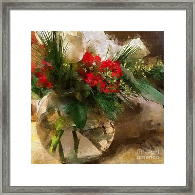 Winter Flowers In Glass Vase Framed Print