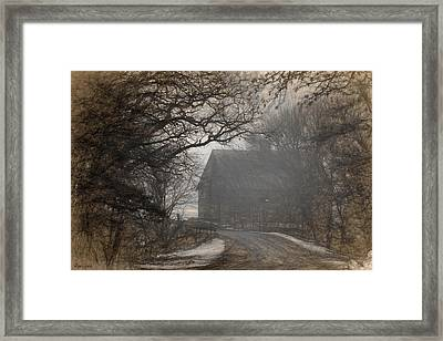 Winter Foggy Countryside Road And Barn Framed Print