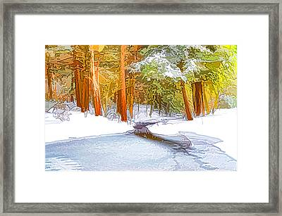 Winter Forest And A River With Snow And Ice Framed Print by Lanjee Chee