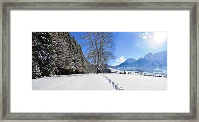 Winter Forest And Mountains Panorama Framed Print by Sabine Jacobs