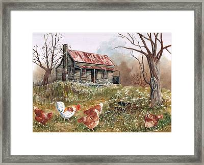 Winter Fossicking Framed Print by Val Stokes