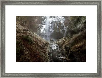 Winter Freeze At Multnomah Falls Framed Print by David Gn