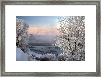Winter Frost And Mist Framed Print by Leland D Howard