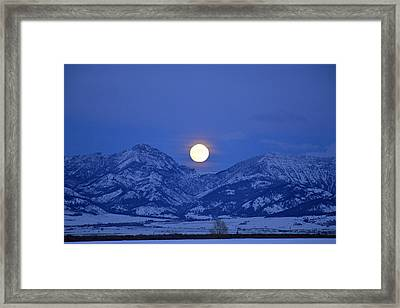 Winter Full Moon Over The Rockies Framed Print