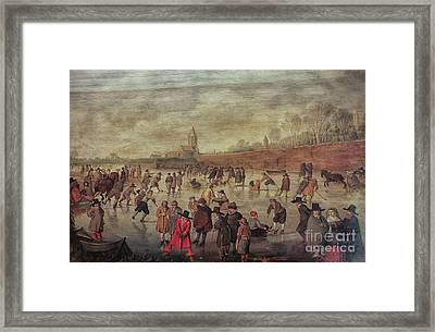 Framed Print featuring the photograph Winter Fun Painting By Barend Avercamp by Patricia Hofmeester