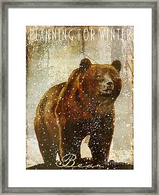 Winter Game Bear Framed Print by Mindy Sommers
