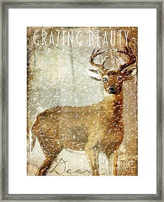 Winter Game Deer Framed Print by Mindy Sommers