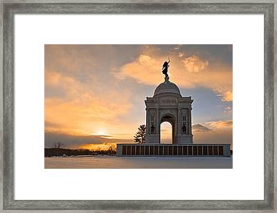 Winter Gettysburg Sunrise Framed Print