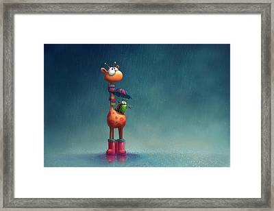 Winter Giraffe Framed Print by Tooshtoosh
